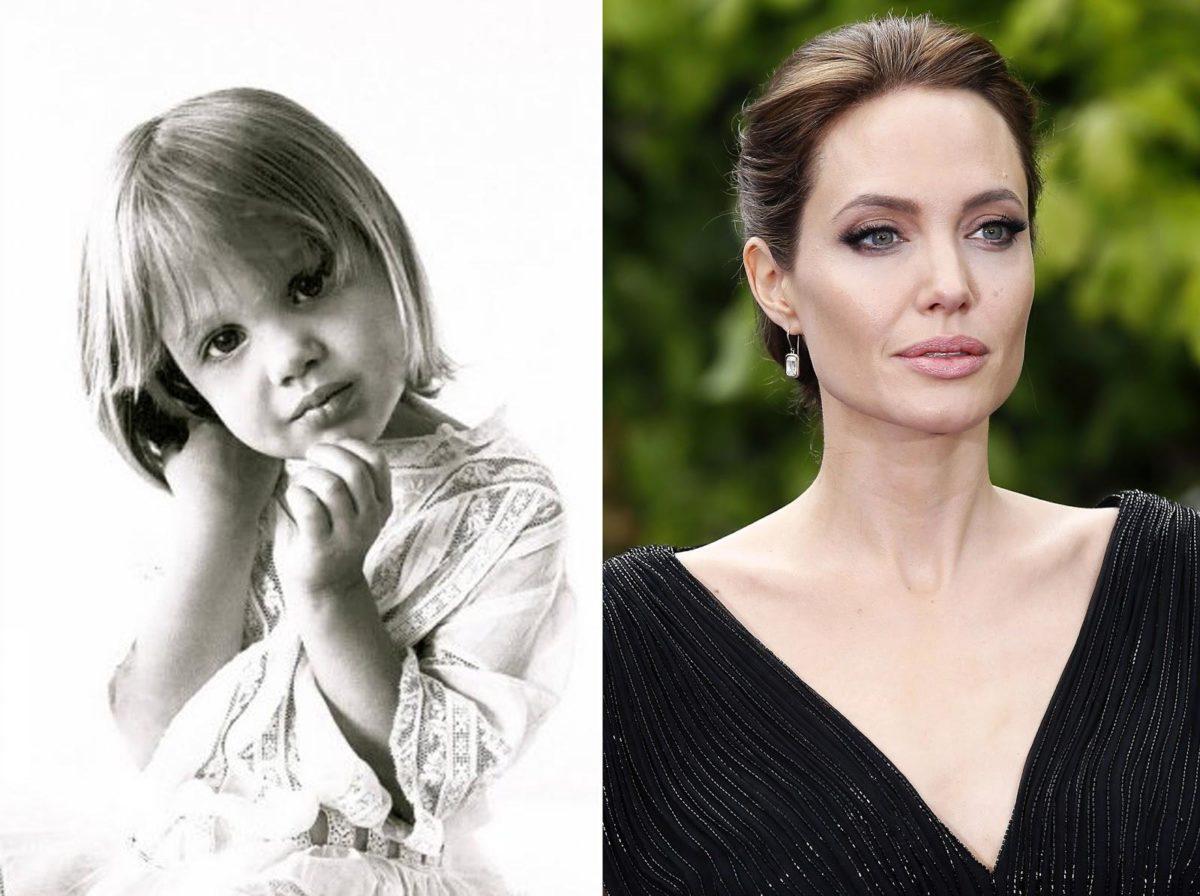 Анджелина Джоли в детстве и на данный момент времени